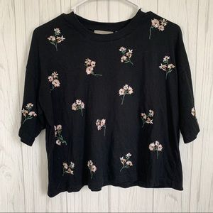 ASOS Black Cropped Tee with Embroidered Flowers